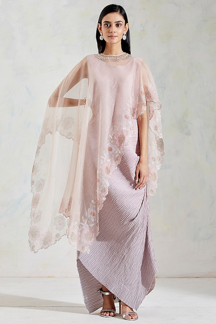 Pink & Grey Shaded Crinkled Draped Dress With Cape by Kavita Bhartia