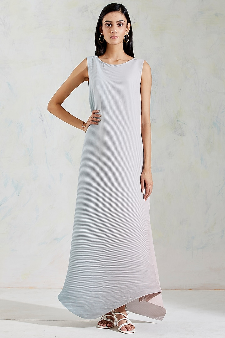 Aquatic Sage & Pink Shaded Crinkle Crepe Dress by Kavita Bhartia