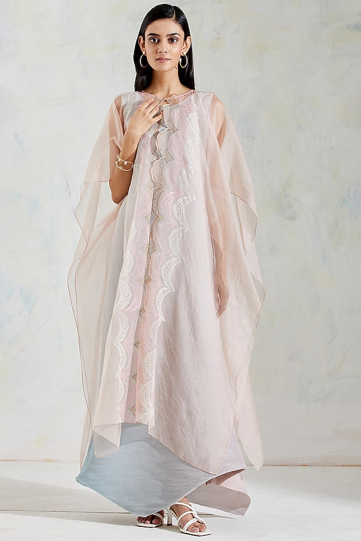 Aquatic Sage & Pink Shaded Crinkle Crepe Dress With Hand Block Printed Cape by Kavita Bhartia