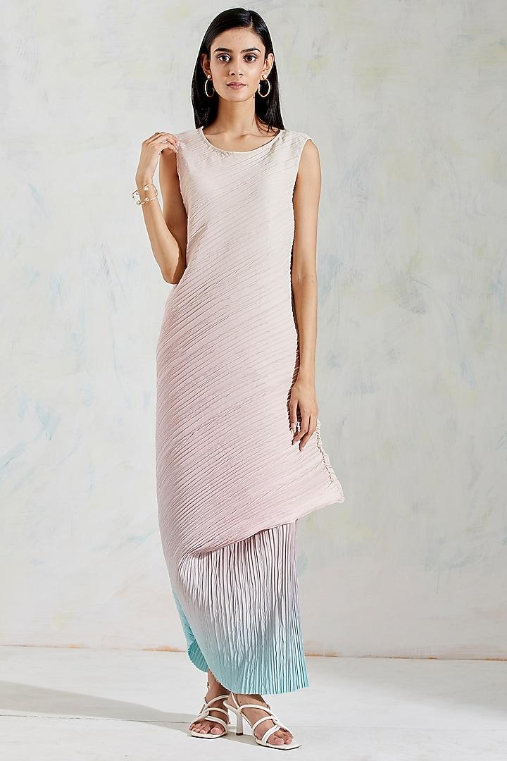 Pink & Aquatic Sage Shaded Crinkle Crepe Dress by Kavita Bhartia