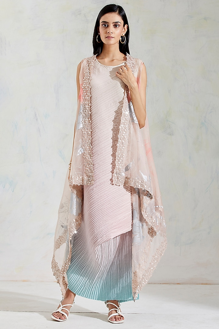 Pink Hand Embroidered Cape With Dress by Kavita Bhartia