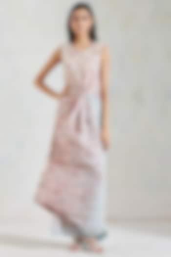 Pink & Aquatic Sage Shaded Hand Block Printed Dress by Kavita Bhartia