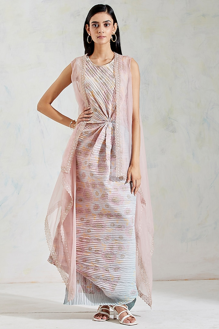 Pink Embroidered Cape With Dress by Kavita Bhartia