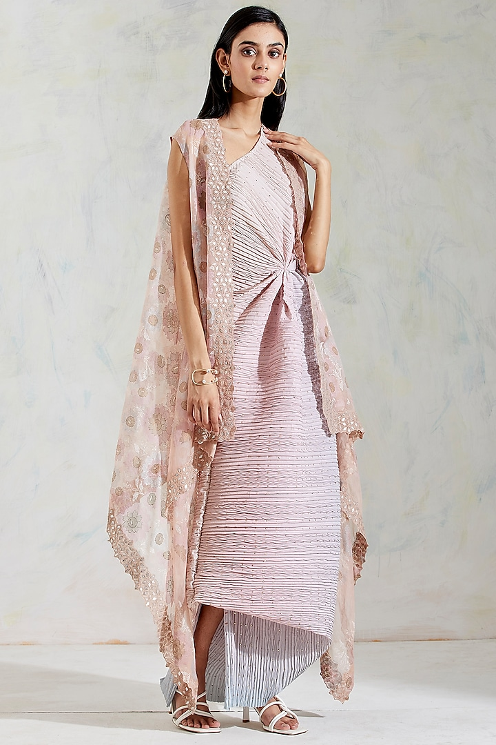 Pink & Aquatic Sage Shaded One Shoulder Dress With Embroidered Cape by Kavita Bhartia