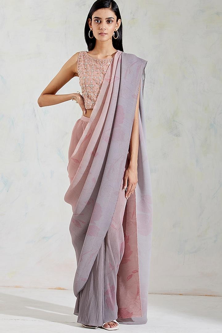 Rose Pink & Grey Shaded Pre-Stitched Saree Set by Kavita Bhartia