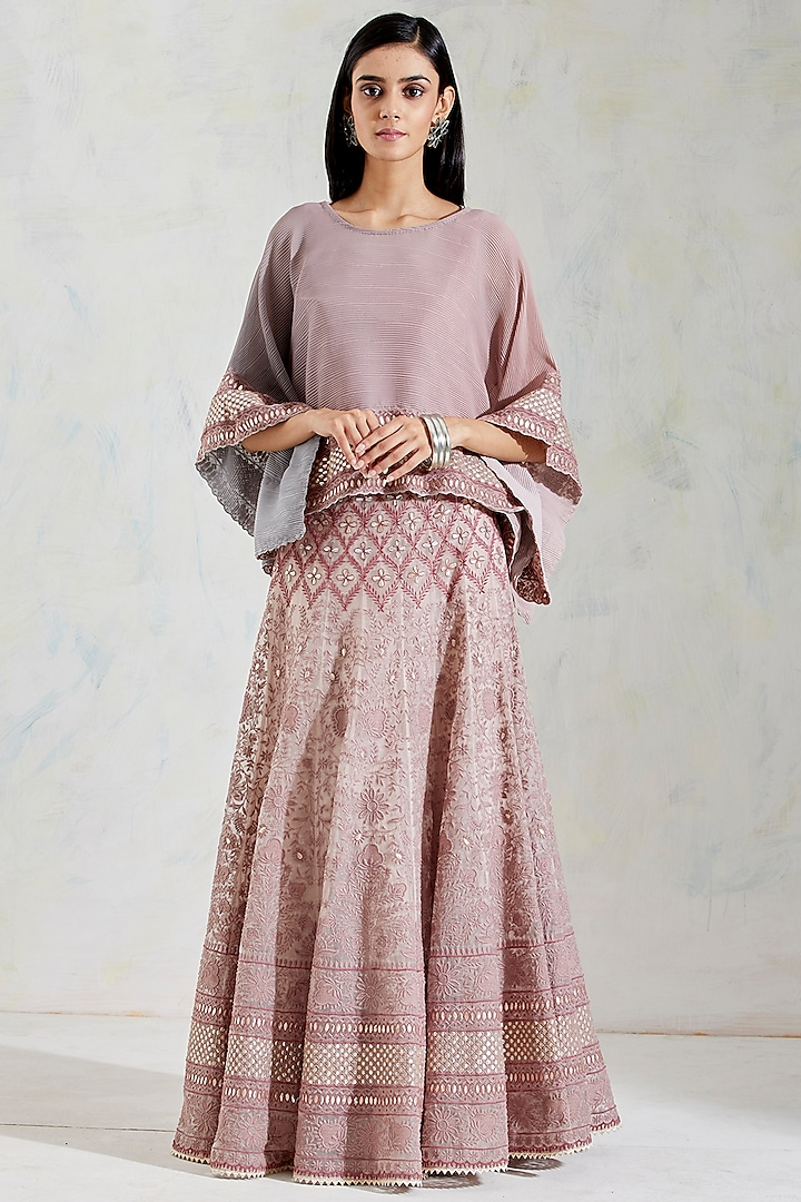Pink & Grey Shaded Embroidered Skirt Set by Kavita Bhartia
