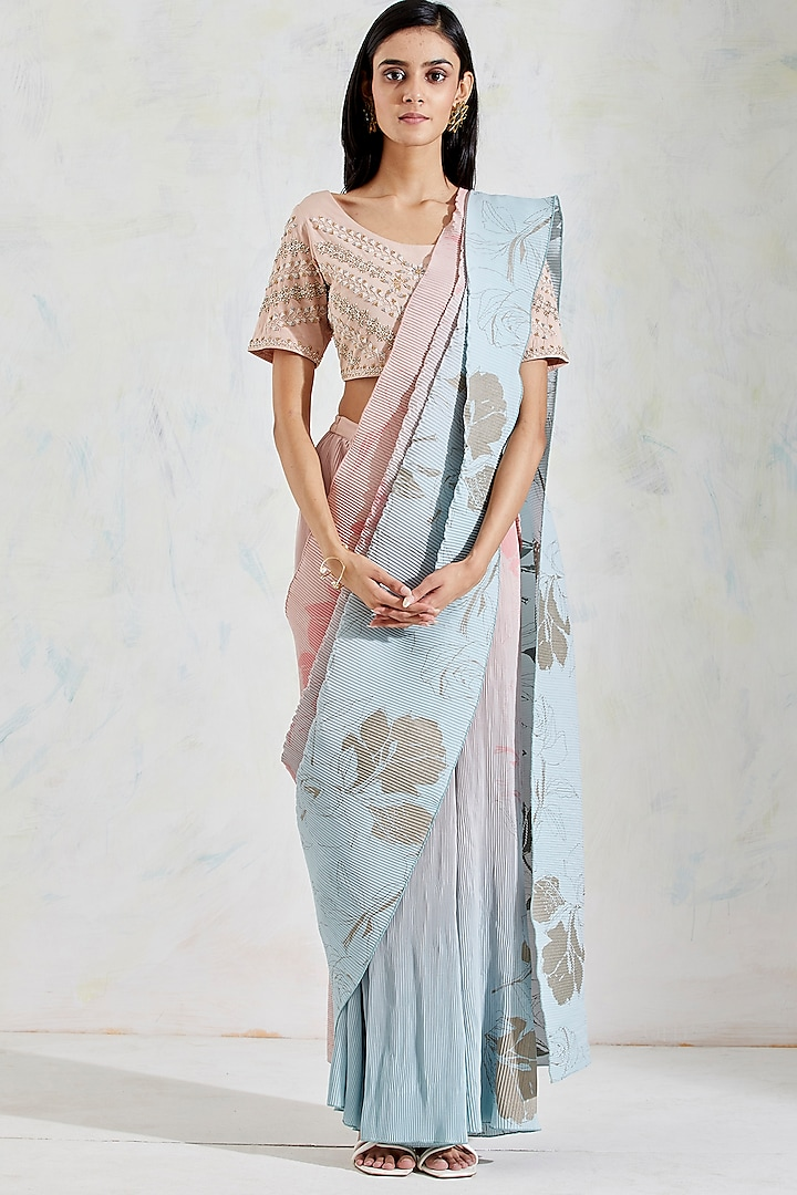 Aquatic Sage Shaded Rose Printed Pre-Stitched Saree Set by Kavita Bhartia
