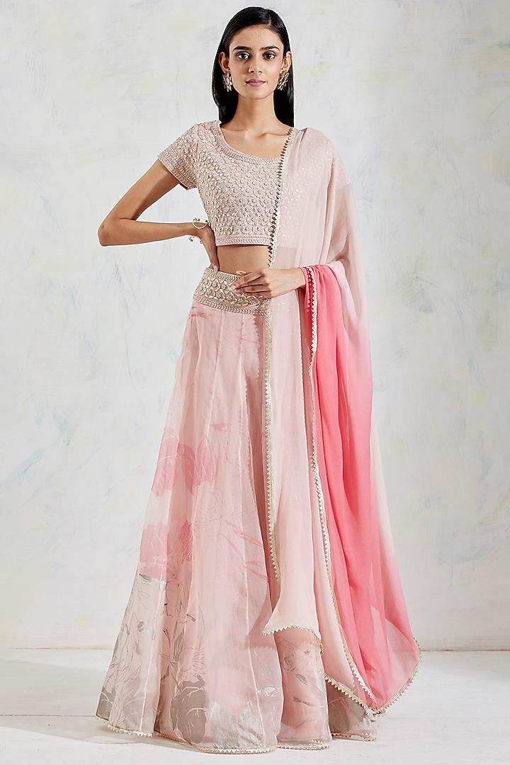 Pink Shaded Rose Printed Lehenga Set by Kavita Bhartia