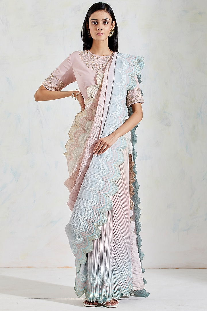 Pink & Aquatic Shaded Crinkle Georgette Pre-Stitched Saree Set by Kavita Bhartia