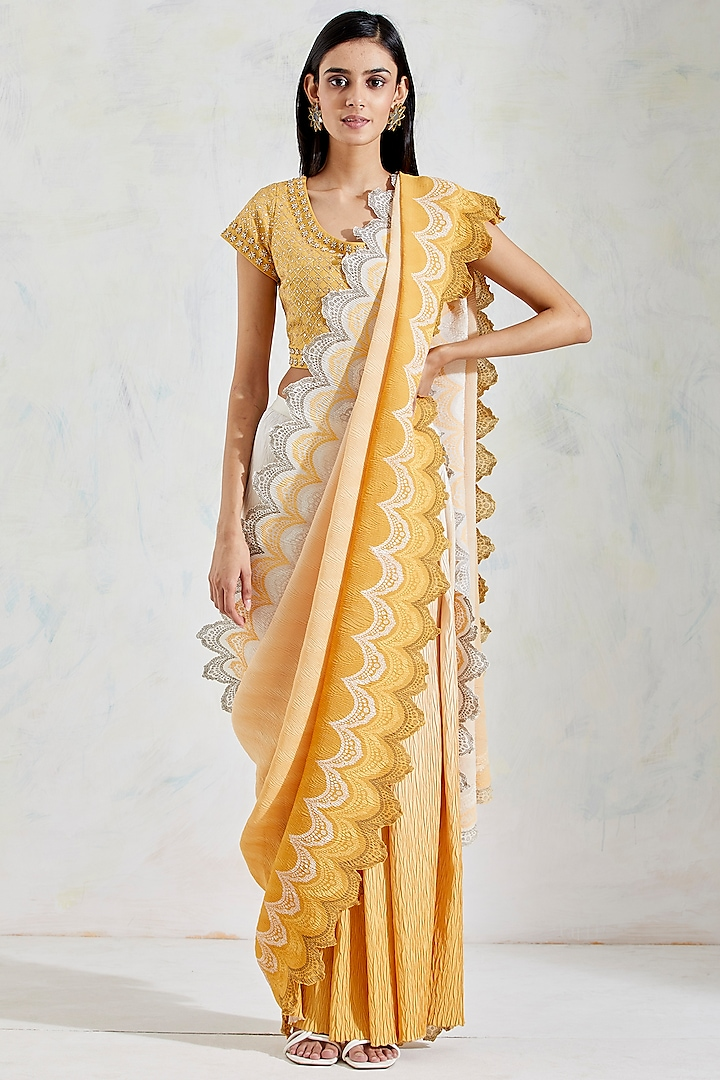 Yellow & Ivory Shaded Pre-Stitched Saree Set by Kavita Bhartia