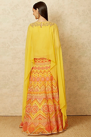 Yellow Embroidered Dress With Dupatta by Kavita Bhartia