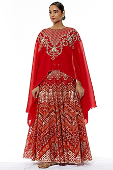 Red Embroidered Skirt With Cape by Kavita Bhartia