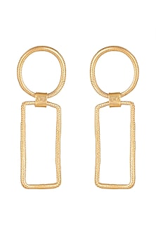 Gold Finish Snake Chainshackle Earrings by Kichu