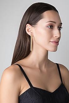 Gold Finish Rectangle Stud Earrings by Kichu
