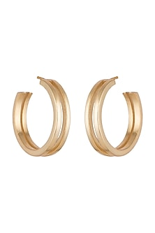 Gold Finish Double Hoop Earrings by Kichu