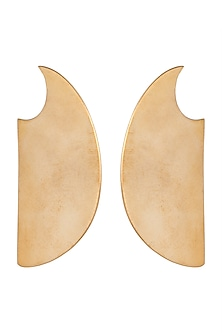 Gold Finish Disco Plate Earrings by Kichu