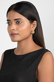 Gold Finish Hoop Earrings by Kichu