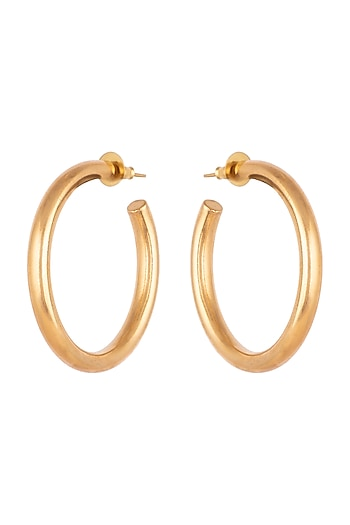 Gold Finish Large Hoop Earrings by Kichu