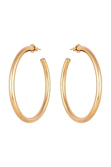Gold Finish Classic Large Hoop Earrings by Kichu