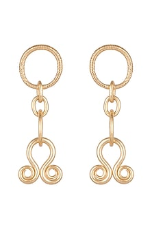 Gold Finish Shain Charm Earrings by Kichu