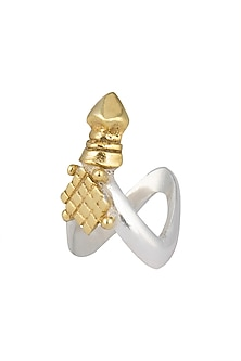 Gold and silver dual plated antler ring by Kichu