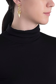 Gold plated shark tooth earrings by Kichu