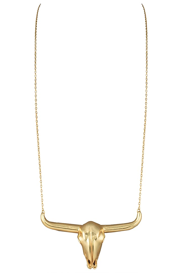 Gold plated bison head necklace by Kichu