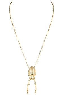 Gold plated skarab pendant necklace by Kichu