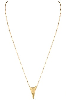 Gold plated shark tooth pendant necklace by Kichu