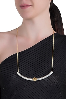 Gold and silver dual plated tube necklace by Kichu