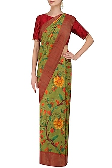 Green Floral Print Saree with Unstitched Blouse Piece by Karma Designs