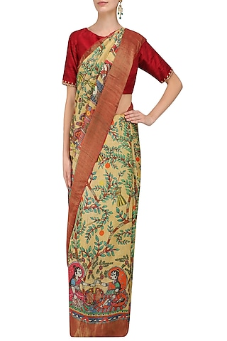 Yellow Floral Print Saree with Unstitched Blouse Piece by Karma Designs