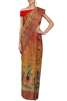 Rust and Yellow Ombre Shaded Saree with Unstitched Blouse Piece by Karma Designs
