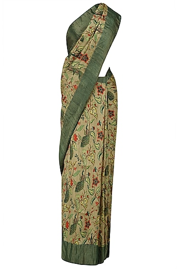 Beige Floral Print and Green Border Saree with Unstitched Blouse Piece by Karma Designs
