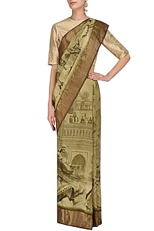 Gold Printed Saree with Unstitched Blouse Piece by Karma Designs