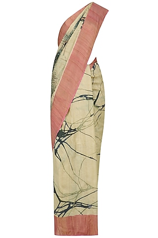 Beige Abstract Print Saree with Unstitched Blouse Piece by Karma Designs