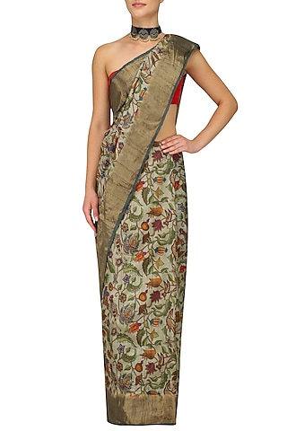 Beige Floral Print and Gold Border Saree with Unstitched Blouse Piece by Karma Designs