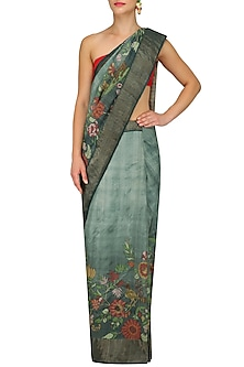 Green Floral Work Shaded Saree with Unstitched Blouse Piece by Karma Designs
