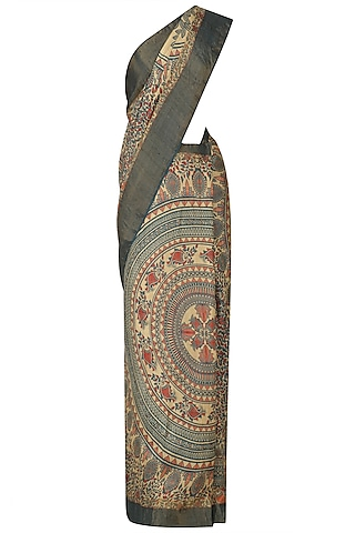Beige And Grey Paisley Print Saree With Unstitched Blouse by Karma Designs