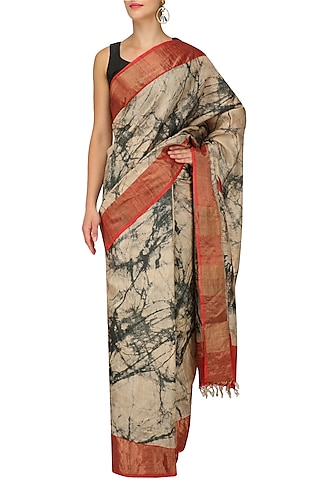 Beige And Grey Abstract Print Saree With Unstitched Blouse by Karma Designs