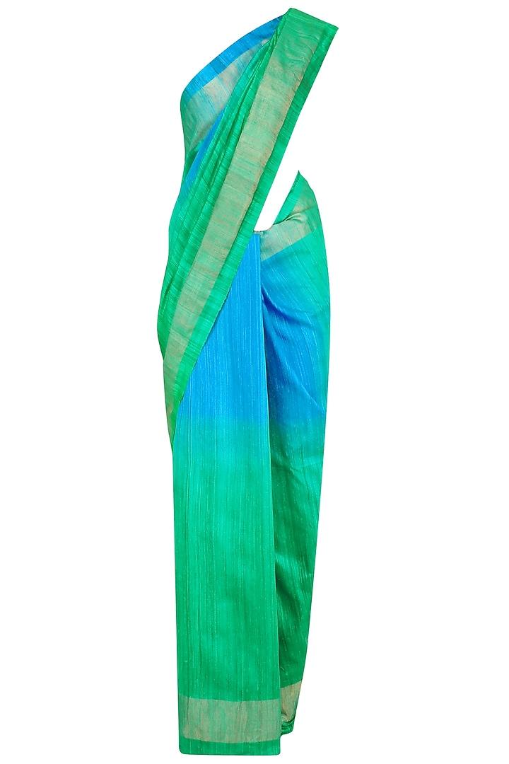 Blue and Green Shaded Handloom Saree by Karma Designs