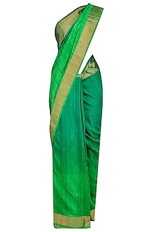 Sea Green and Parrot Green Shaded Handloom Saree by Karma Designs