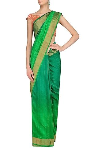 Sea Green and Parrot Green Shaded Handloom Saree by Karma Designs