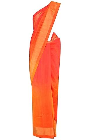 Bright Orange and Yellow Shaded Handloom Saree by Karma Designs