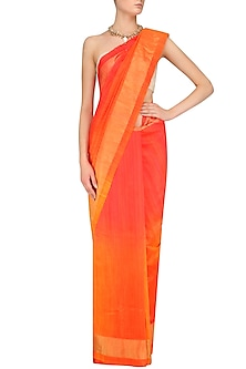 Bright Orange and Yellow Shaded Handloom Saree by Karma Designs