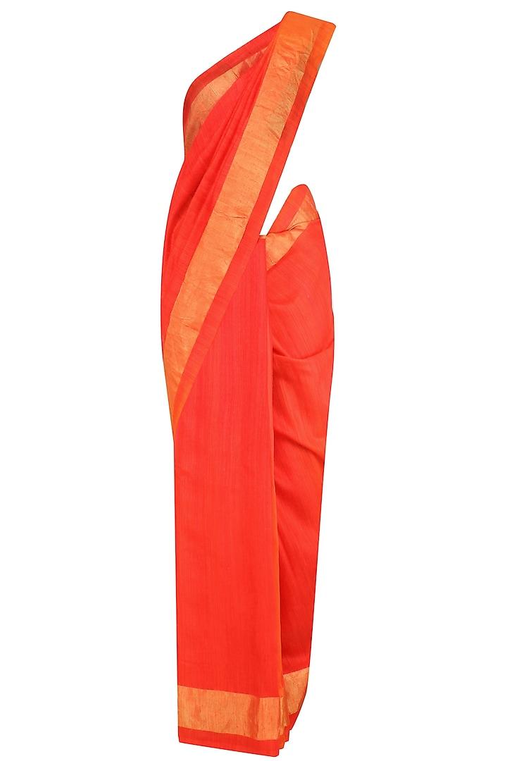 Bright Red and Gold Border Handloom Saree by Karma Designs
