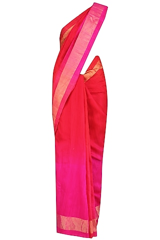 Red and Hot Pink Shaded Handloom Saree by Karma Designs