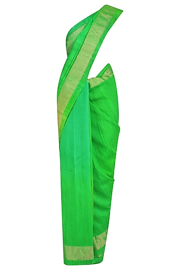 Green Printed Motifs Handloom Saree by Karma Designs