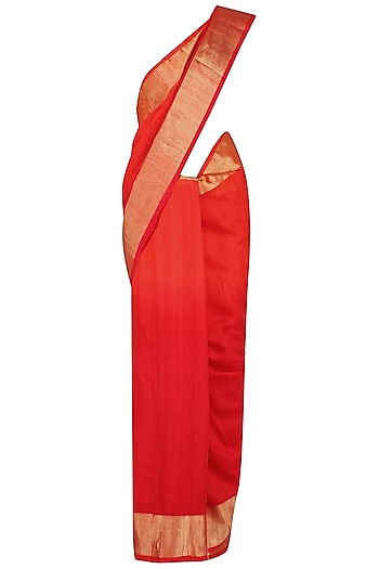 Red and Gold Printed Motifs Handloom Saree by Karma Designs