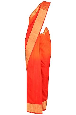 Orange and Gold Printed Motifs Handloom Saree by Karma Designs